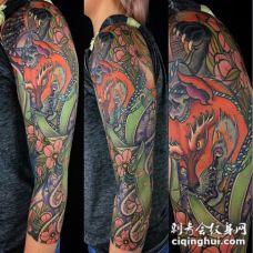神奇民间传说九尾狐纹身日式纹身花臂和满背纹身图案