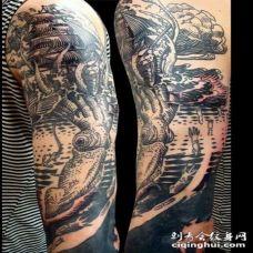 老式黑色海洋大野兽攻击船的纹身图案