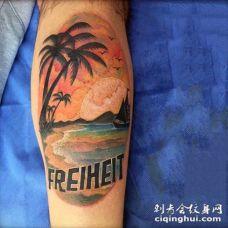手臂彩色海洋与船舶纹身图案
