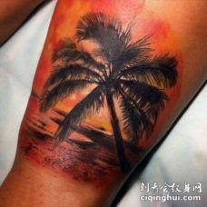 腿部浪漫般的彩色海洋海滩纹身图片
