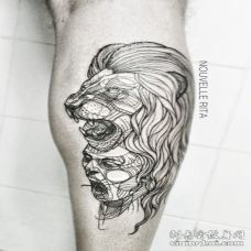 腿部黑色线条风格的狮子纹身图案
