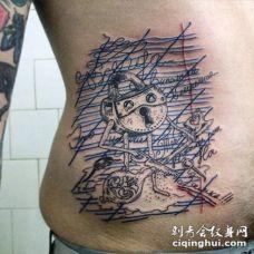 腰侧线条小神秘卡通锁纹身图案
