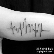 手臂另类风格的小城市纹身图案