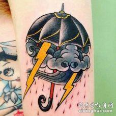 天气主题的雷电下雨等纹身图案