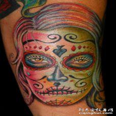 糖果色骷髅脸纹身图案