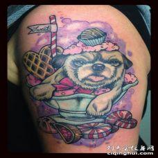 可爱的小狗糖果纹身图案