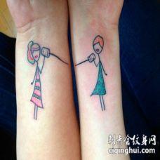 闺蜜友谊卡通小人纹身图案