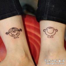 小腿卡通超级可爱的小人纹身图案