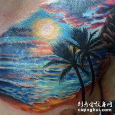 胸部风格七彩海洋日落与棕榈树纹身图案