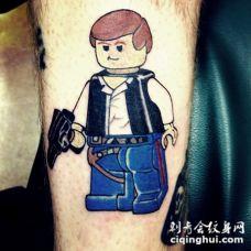 彩色搞笑卡通乐高小人纹身图案