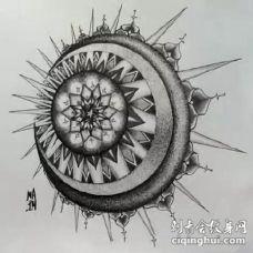 太阳和月亮组成的一波创意日月纹身图案