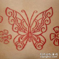 花蝴蝶割肉纹身图案