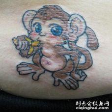 可爱的卡通小猴子纹身图案