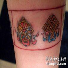 佛教符号图腾彩色纹身图案