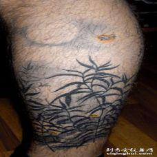 小腿植物草纹身图案