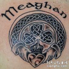 黑灰爱尔兰符号三叶草字符纹身图案