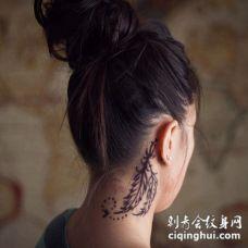 耳后颈部黑色羽毛纹身图案