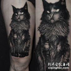 大腿点刺风格邪恶大黑猫纹身图案