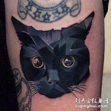 美丽的黑猫纹身图案