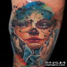 水彩画风格美丽女孩纹身图案