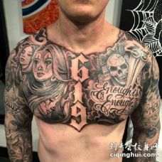 男性纹身花胸 男性胸前的黑色大花胸纹身图案