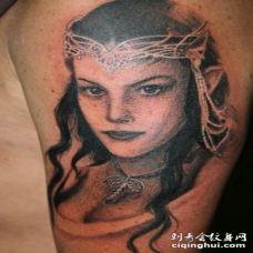 手臂指环公主精灵公主肖像纹身图案