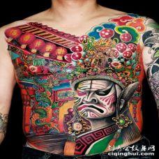 腹部伟大的美丽中国风格京剧纹身图案