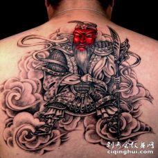 背部中国风关公纹身图案