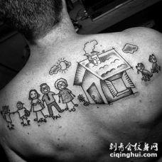背部有趣的卡通大家庭纹身图案