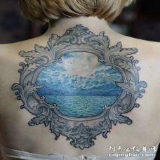 背部old school漂亮的蓝色海洋纹身图案