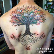 背部五彩绚烂的字母和家庭树纹身图案