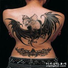 背部搞笑的蝙蝠个性黑灰纹身图案