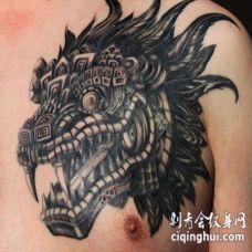 胸前机械麒麟纹身图片