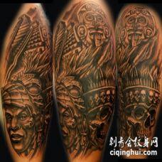 大臂阿兹特克部落人像骷髅纹身图案
