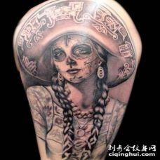 大臂墨西哥风格死亡女郎纹身图案