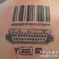 黑色的条形码和电脑端口纹身图案