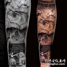 手臂彩绘家庭与城堡纹身图案