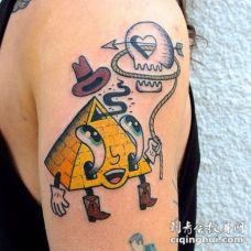 卡通搞笑的海绵宝宝金字塔彩绘纹身图案