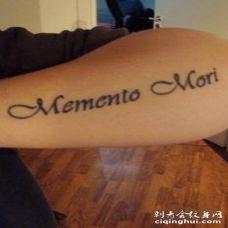 手臂黑色拉丁文纹身图案