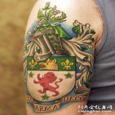 大臂彩色的家庭图腾徽章纹身图案