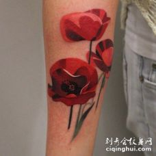 可爱的红色罂粟花手臂纹身图案