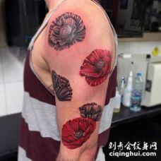 手臂逼真的彩色罂粟花纹身图案
