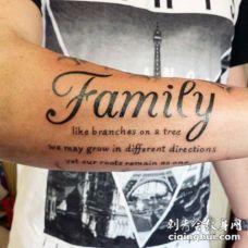 简单的黑色家庭英文字母手臂纹身图案