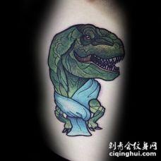搞笑的插画风格恐龙手臂纹身图案