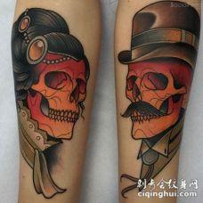 old school彩色的女子和男子骨骼手臂纹身图案