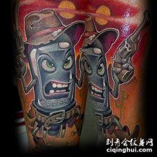 很棒的卡通外国人牛仔纹身图案