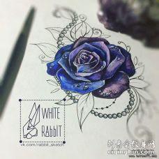 欧美写实逼真玫瑰彩色纹身图案手稿
