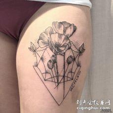 大腿小清新性感几何罂粟花纹身图案