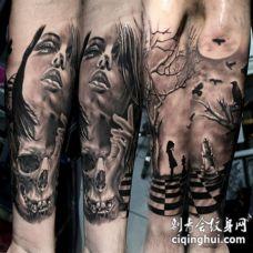 手臂黑灰女子脸部与骷髅纹身图案