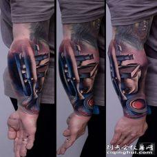 手臂3D彩色艺术品纹身图案